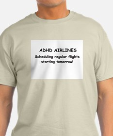 ADHD Airlines Ash Grey T-Shirt
