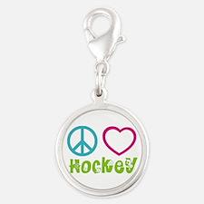 Peace Love Hockey Silver Round Charm