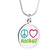 Peace Love Hockey Silver Round Necklace