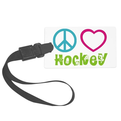Peace Love Hockey Large Luggage Tag