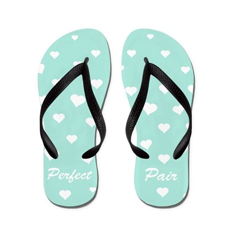 Perfect pair love hearts funny flip flops