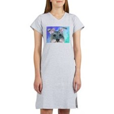 All ears Schnauzer dog Women's Nightshirt