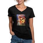 Angel3-Cocker 1 Women's V-Neck Dark T-Shirt