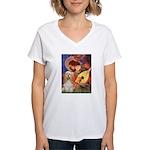 Angel3-Cocker 1 Women's V-Neck T-Shirt