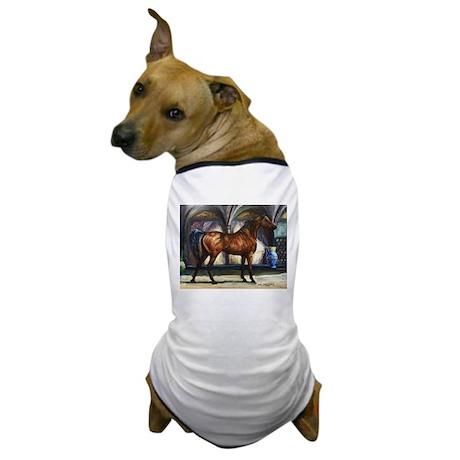 Bay Arabian Stallion with Background Dog T-Shirt