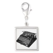 Typewriter Silver Square Charm