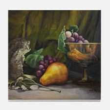 Still Life with Pear and Grapes Tile Coaster