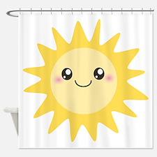Cute happy sun Shower Curtain