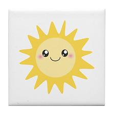 Cute happy sun Tile Coaster