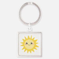 Cute happy sun Square Keychain