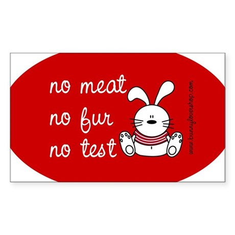 No meat, No fur, No test Oval Sticker