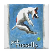 Cute Jack russell terrier owner Tile Coaster