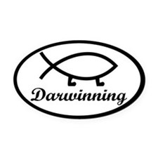 Darwinning Evolution Darwin Fish Oval Car Magnet