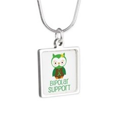 Bipolar Support Owl Silver Square Necklace