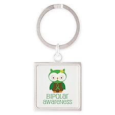 Bipolar Awareness (Owl) Square Keychain
