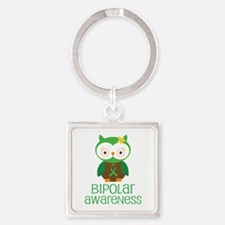 Bipolar Awareness (Owl) Square Keychain