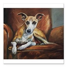 """Whippet on Chair Square Car Magnet 3"""" x 3"""""""