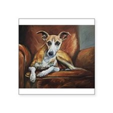 "Whippet on Chair Square Sticker 3"" x 3"""