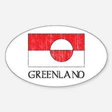 Retro Greenland Flag Oval Decal