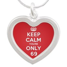 K C Youre Only 69 Silver Heart Necklace