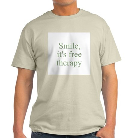 Smile, it's free therapy Ash Grey T-Shirt