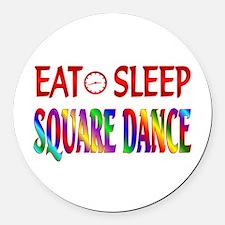 Eat Sleep Square Dance Round Car Magnet