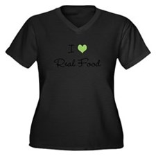 I Heart Real Food (Green) Women's Plus Size V-Neck