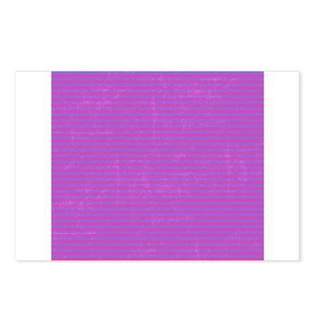 Purple Horizontal Stripes Postcards (Package of 8)