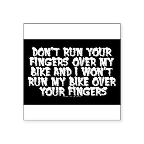 Fingers on Bike Rectangle Sticker
