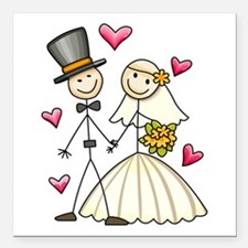 """Bride and Groom Square Car Magnet 3"""" x 3"""""""
