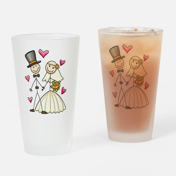Bride and Groom Drinking Glass