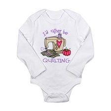 I'd Rather Be Quilting Long Sleeve Infant Bodysuit