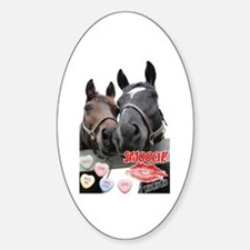 Valentine's Day Horses Oval Decal
