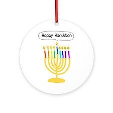Happy Hanukkah Menorah Ornament (Round)