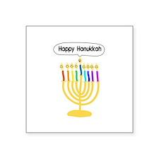 "Happy Hanukkah Menorah Square Sticker 3"" x 3"""