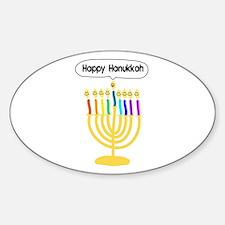 Happy Hanukkah Menorah Sticker (Oval)