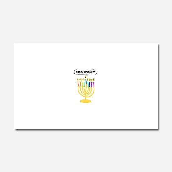 Happy Hanukkah Menorah Car Magnet 20 x 12