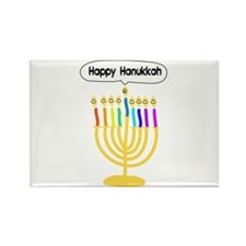 Happy Hanukkah Menorah Rectangle Magnet (10 pack)