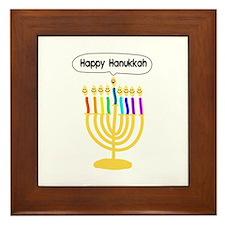 Happy Hanukkah Menorah Framed Tile