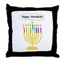Happy Hanukkah Menorah Throw Pillow