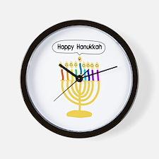 Happy Hanukkah Menorah Wall Clock