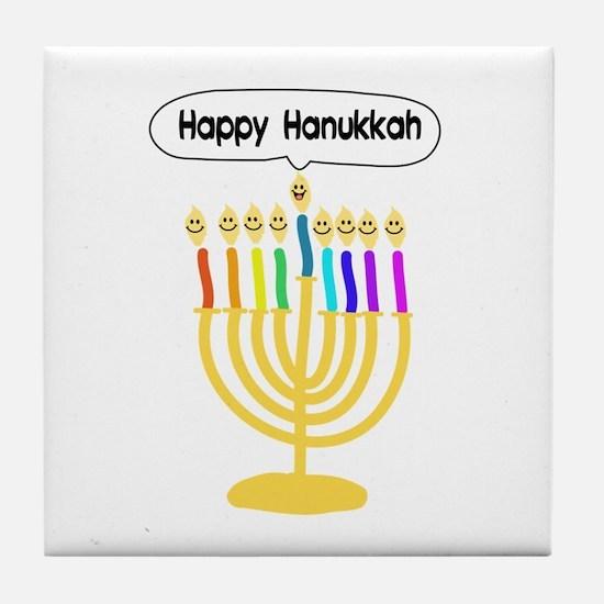 Happy Hanukkah Menorah Tile Coaster
