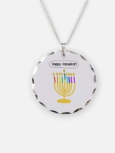 Happy Hanukkah Menorah Necklace