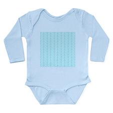 Blue Zigzag Pattern. Long Sleeve Infant Bodysuit
