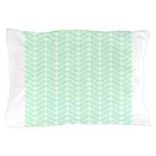 Mint Green Zigzag Pattern. Pillow Case