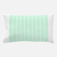 Mint Green Zigzag Pattern. Pillow Case