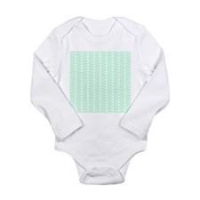 Mint Green Zigzag Pattern. Long Sleeve Infant Body