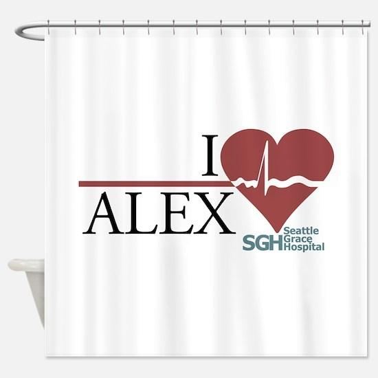 I Heart Alex - Grey's Anatomy Shower Curtain
