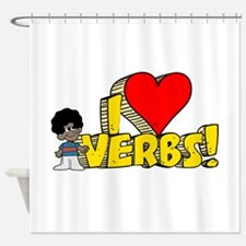 I Heart Verbs - Schoolhouse R Shower Curtain
