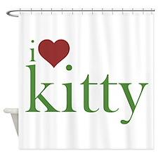 I Heart Kitty Shower Curtain
